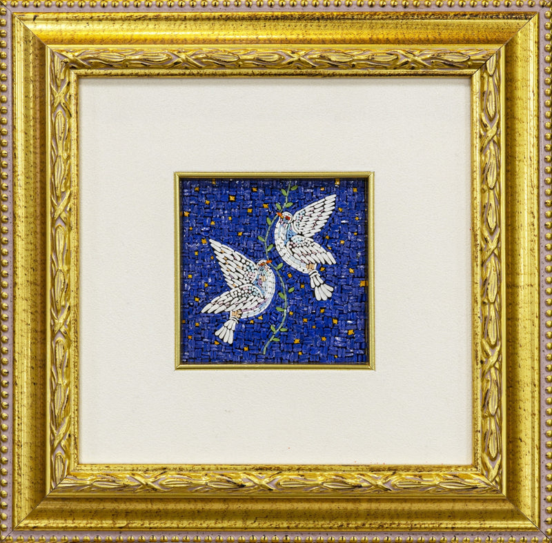 Peace Doves mosaic on blue background