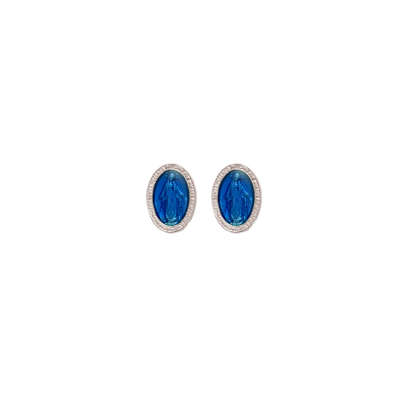 blue miraculous medal earrings