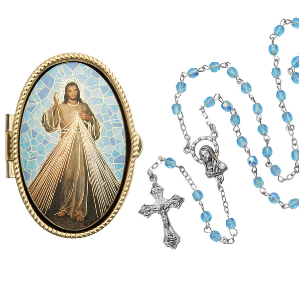 DIVINE MERCY - ROSARY BOX - METAL