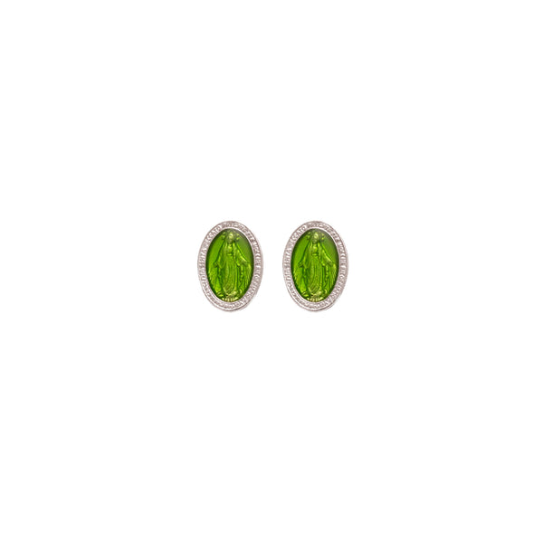 green miraculous medal earrings