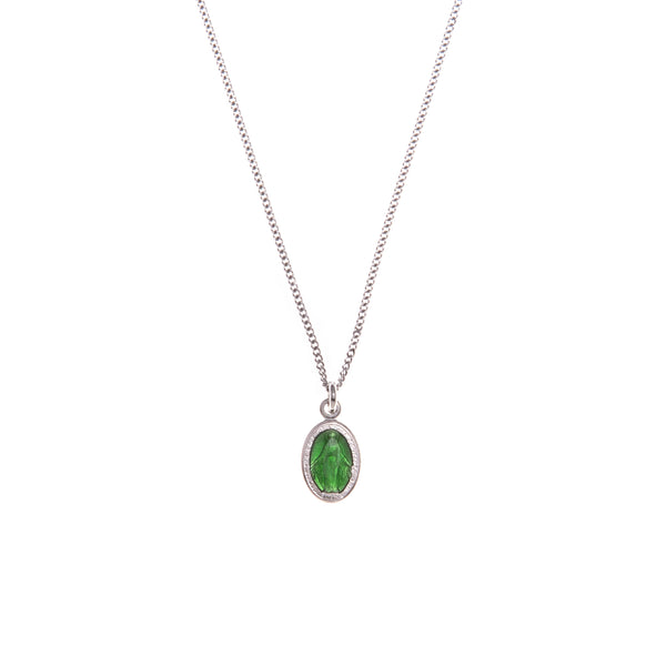 green miraculous medal necklace