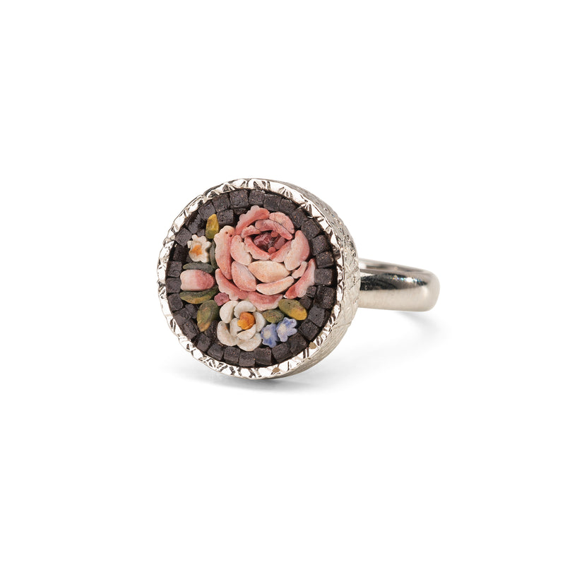 Flemish Flowers Micromosaic ring in silver