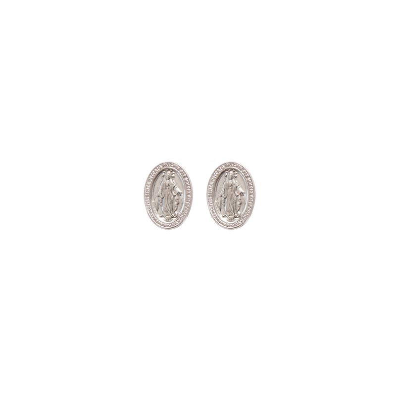 sterling silver miraculous medal earrings