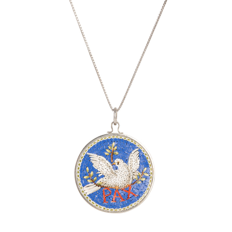 Dove of Peace blue micromosaic necklace