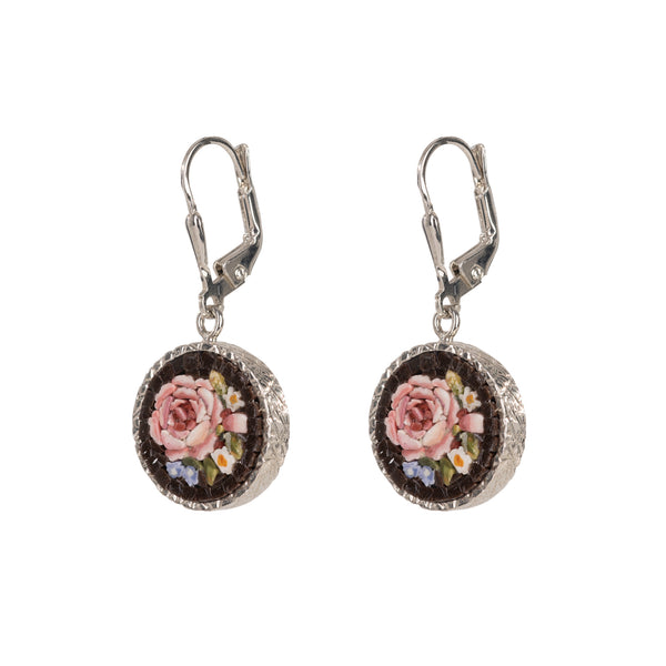 Flemish Flowers Micromosaic Pendant Earrings