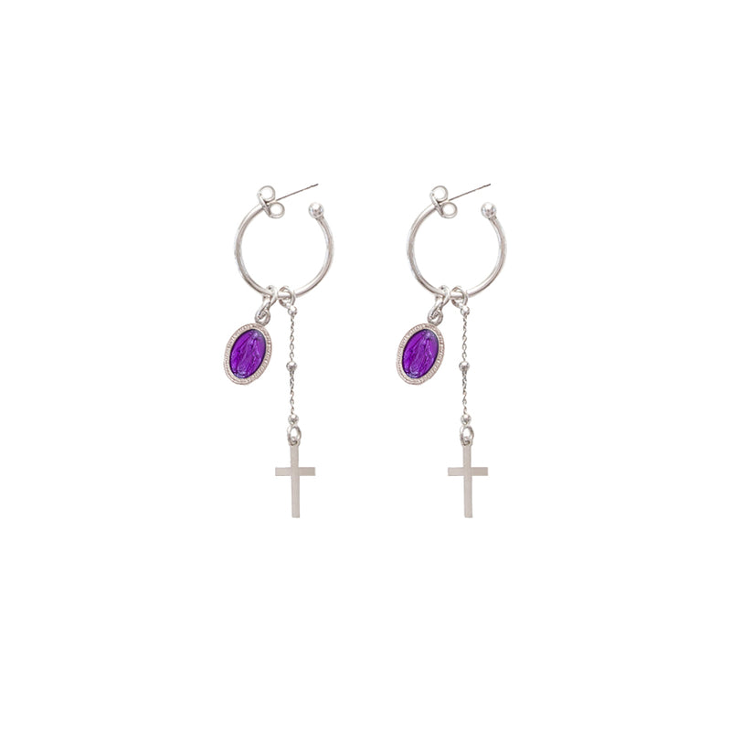 Purple miraculous medal earrings