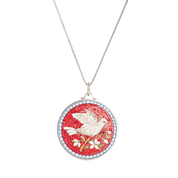 Red micromosaic necklace