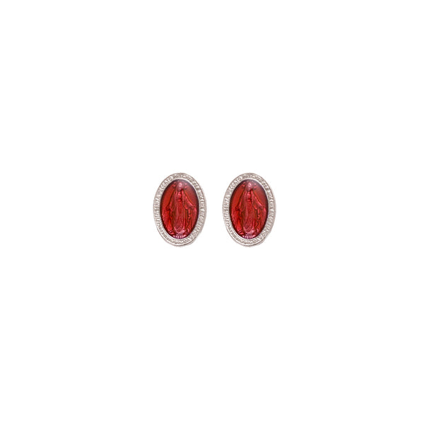 Red miraculous medal earrings