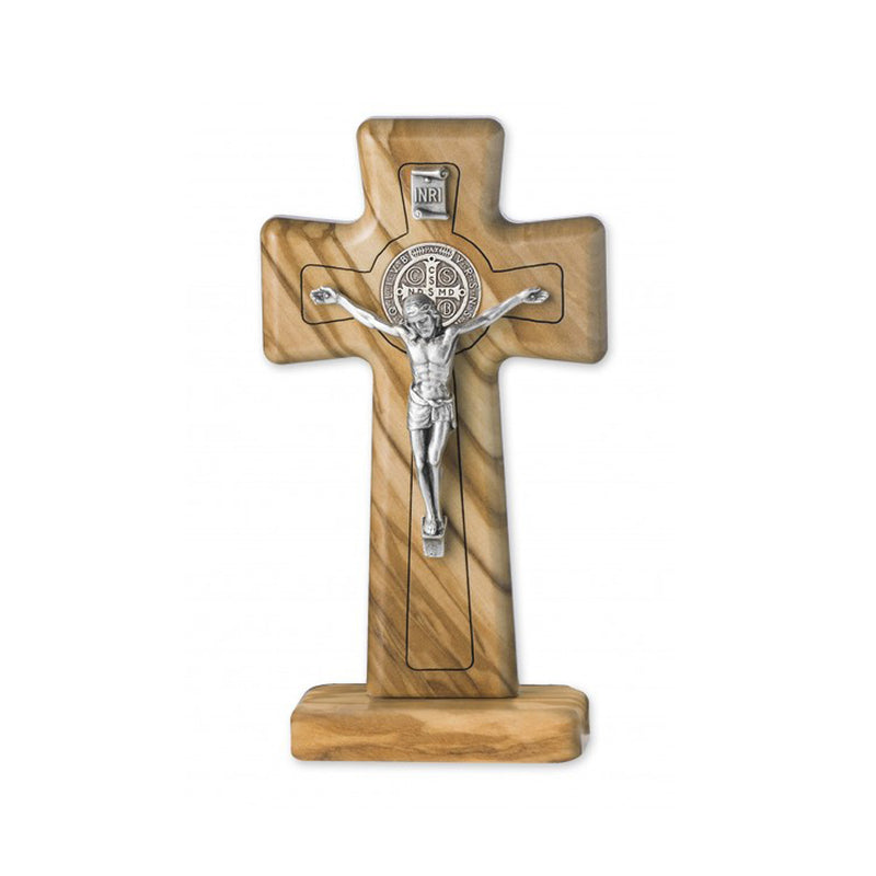 ST BENEDICT - STANDING CRUCIFIX - OLIVE WOOD