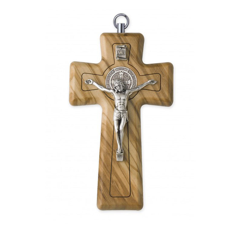 ST BENEDICT - WALL CRUCIFIX - OLIVE WOOD