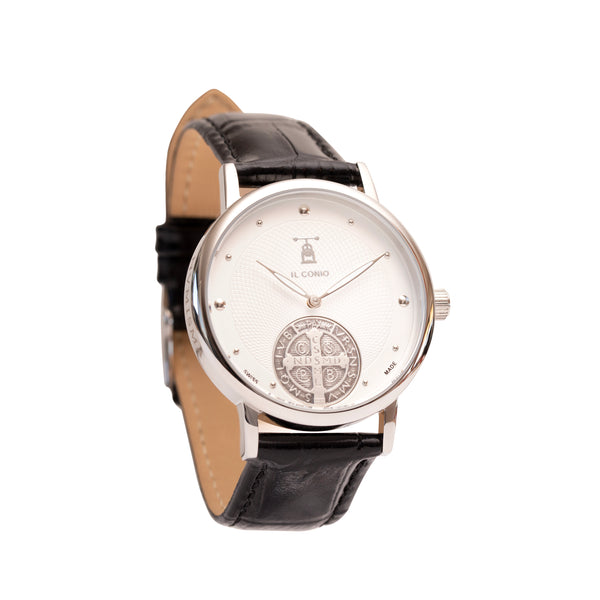 ST BENEDICT MEDAL WATCH - SILVER - LEATHER