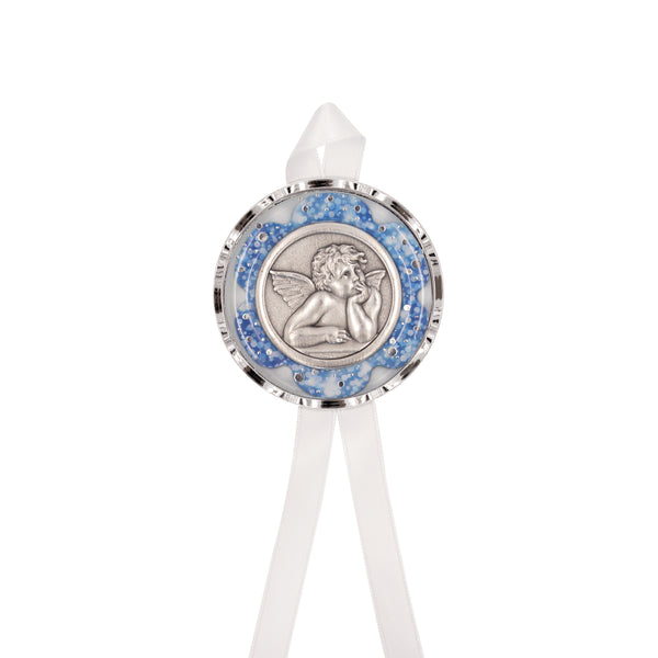 ANGEL - BLUE CRIB MEDAL - METAL