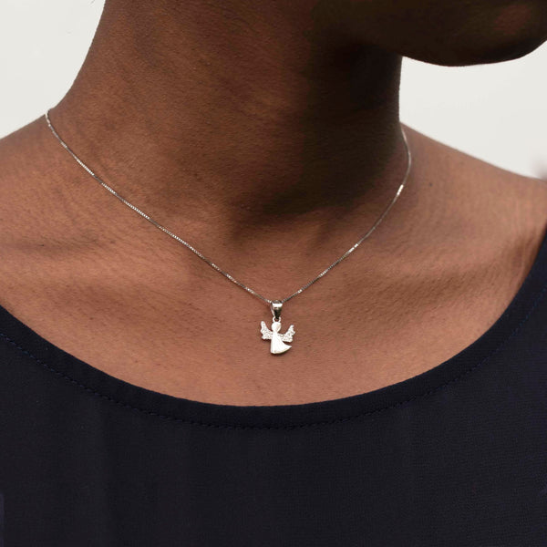 sterling silver angel shaped pendant