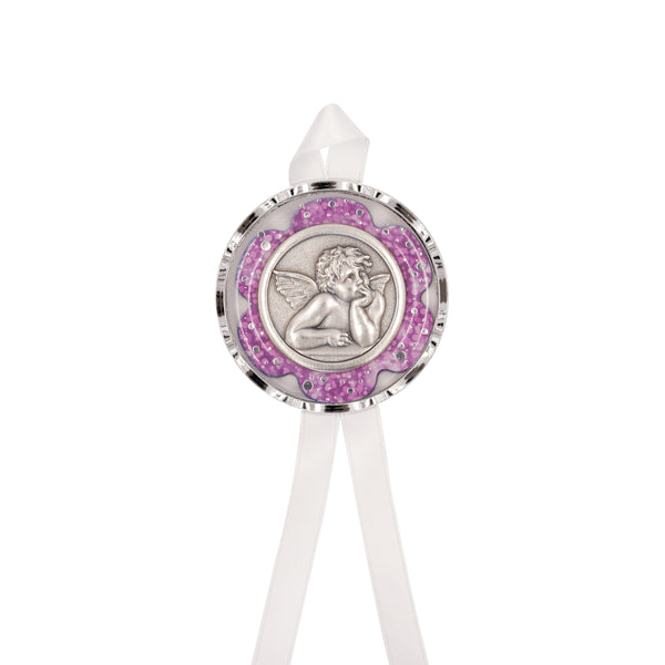 ANGEL - PINK CRIB MEDAL - METAL