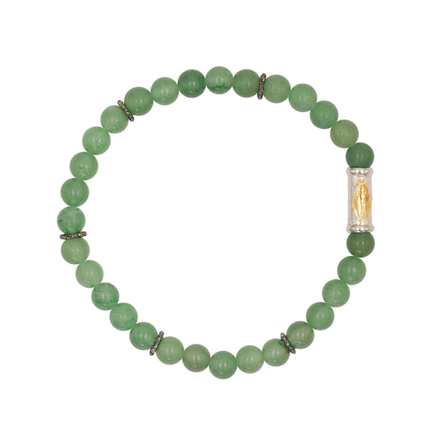 OUR LADY OF GRACE BRACELET - AVENTURINE AND SILVER