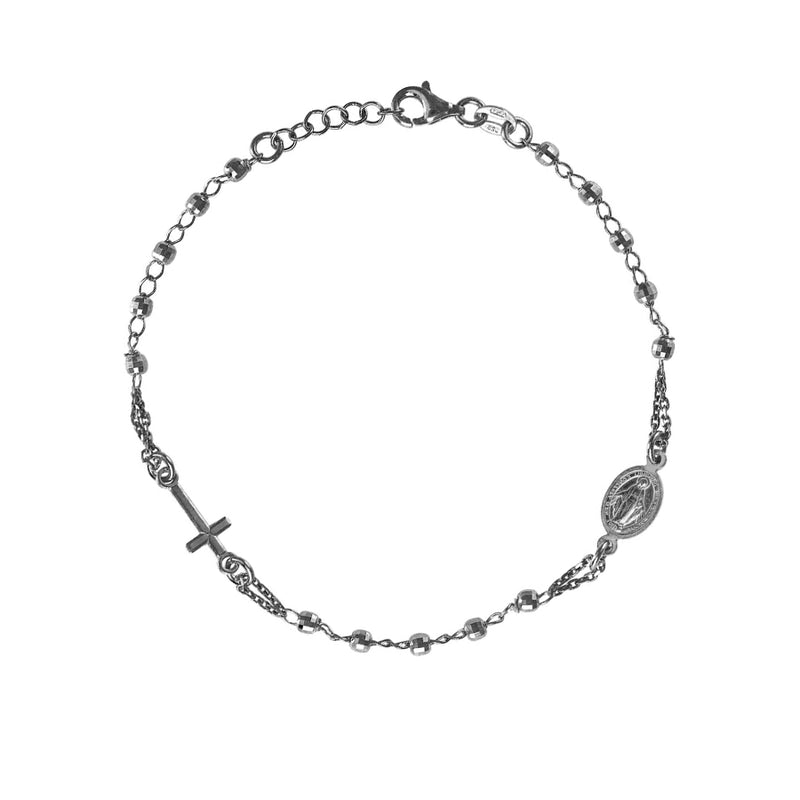 MIRACULOUS AND CROSS - ROSARY BRACELET - BLACK SILVER