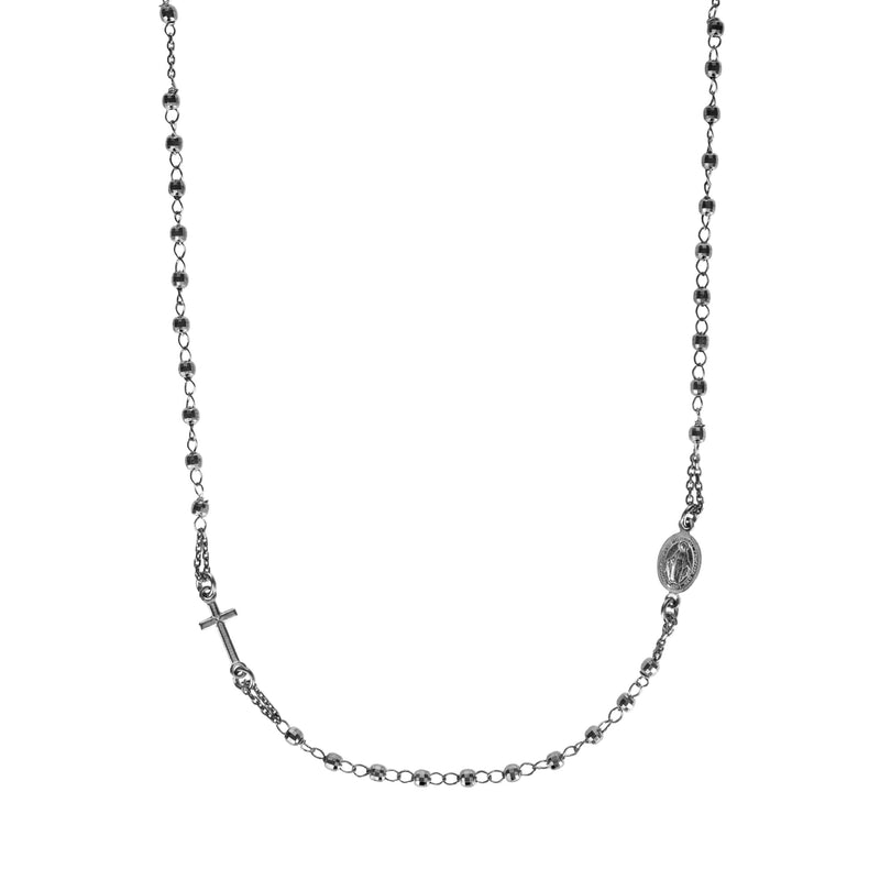 rosary necklace in black silver