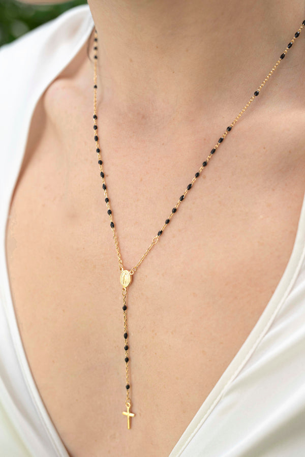 rosary necklace in vermeil silver with black grains