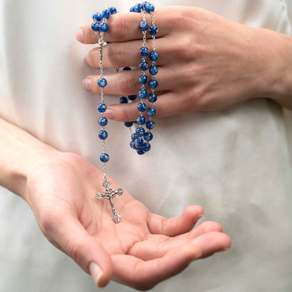 blue murano glass rosary
