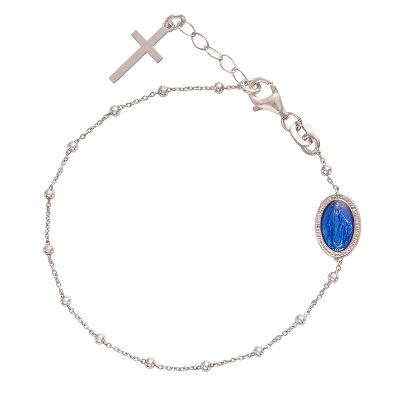 ROSARY BRACELET - BLUE MIRACULOUS MEDAL - SILVER