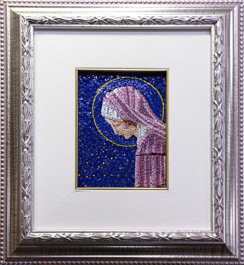Virgin Mary blue mosaic