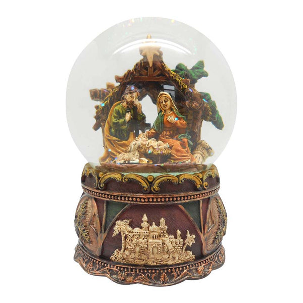 NATIVITY SCENE - CHRISTMAS SNOW GLOBE AND CARILLON