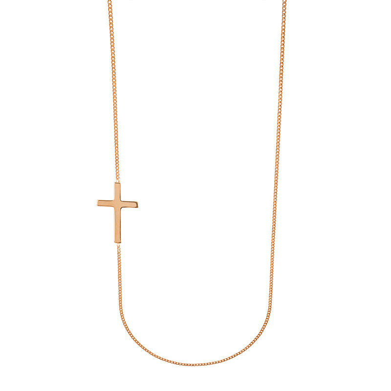 cross necklace in rose silver