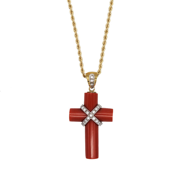 CORAL CROSS PENDANT NECKLACE WITH DIAMONDS - GOLD