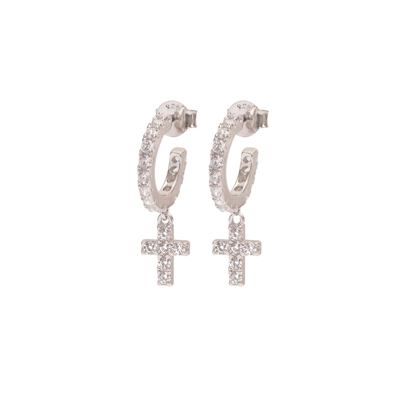 cross hoop earrings with zirconia
