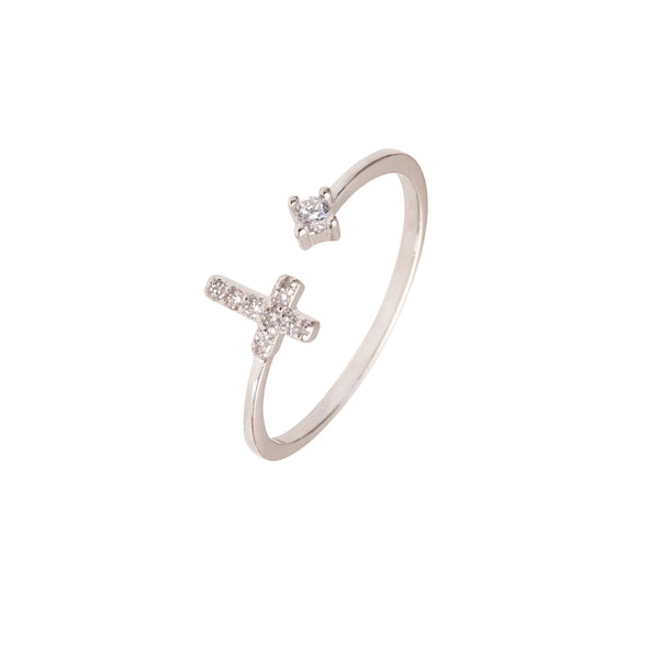 PAVÉ CROSS RING - ZIRCONIA DOT - SILVER