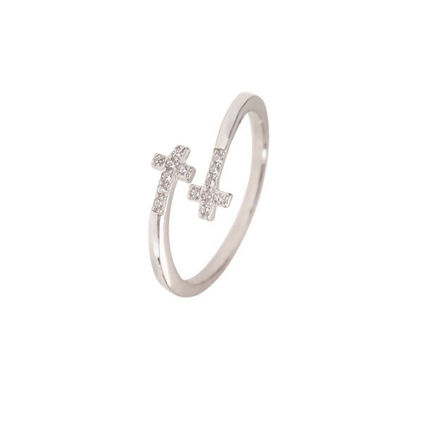 PAVÉ CROSSES RING - SILVER
