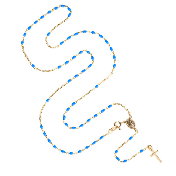 ROSARY NECKLACE - VERMEIL SILVER - BLUE ENAMEL