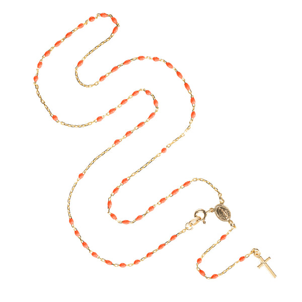 ROSARY NECKLACE - VERMEIL SILVER - PINK ENAMEL