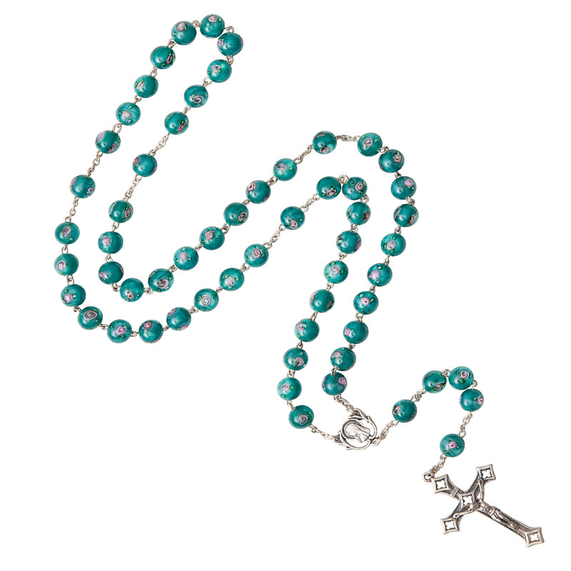 GREEN MURANO GLASS ROSARY - SILVER