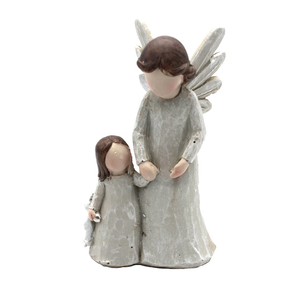 GUARDIAN ANGEL WITH BABY GIRL - STATUE - RESIN
