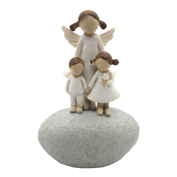 GUARDIAN ANGEL WITH KIDS - STATUE - RESIN