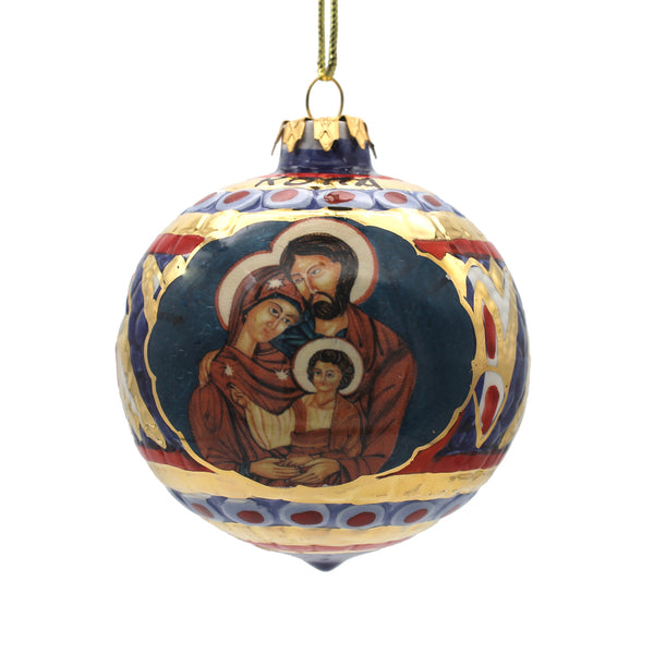 holy family blue christmas bauble