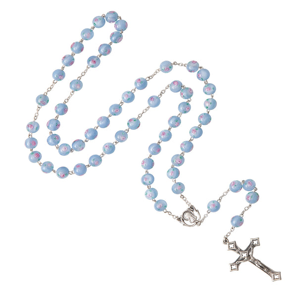 LIGHT BLUE MURANO GLASS ROSARY - SILVER