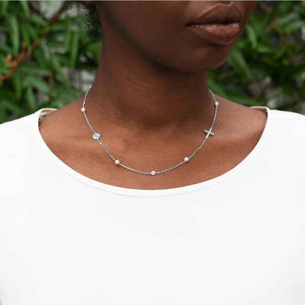 MIRACULOUS AND CROSS - NECKLACE PEARL AND CRYSTAL - SILVER