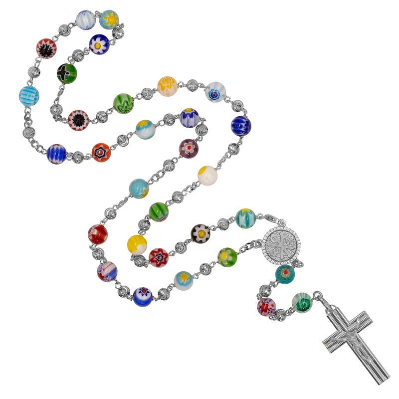 MURANO GLASS ROSARY BEADS - SILVER