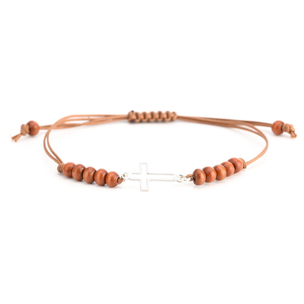 Cross bracelet with brown rope