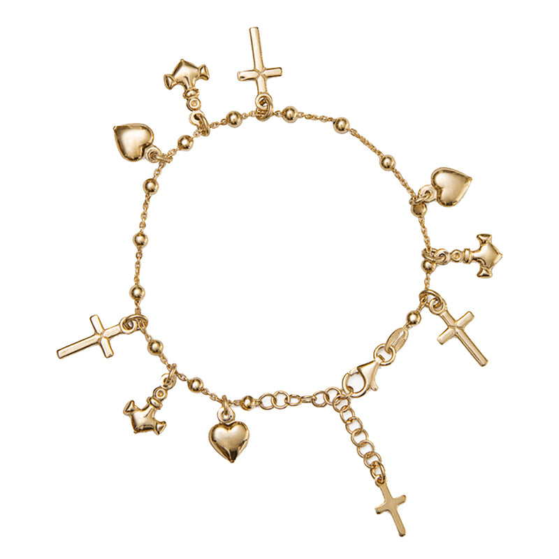 Faith hope and charity vermeil silver bracelet