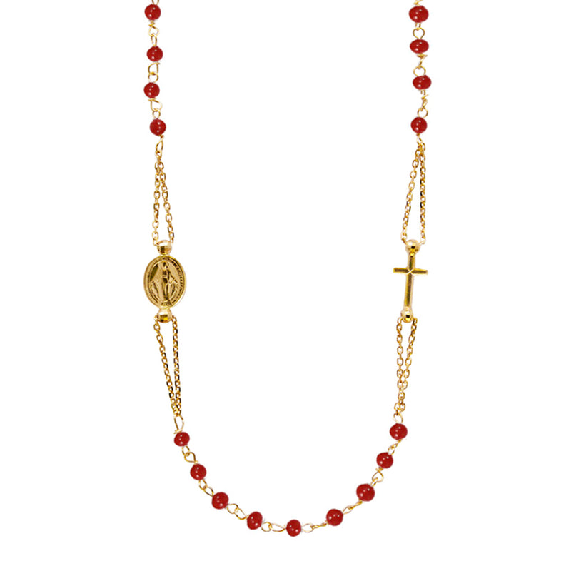 miraculous and cross necklace with corals in yellow gold