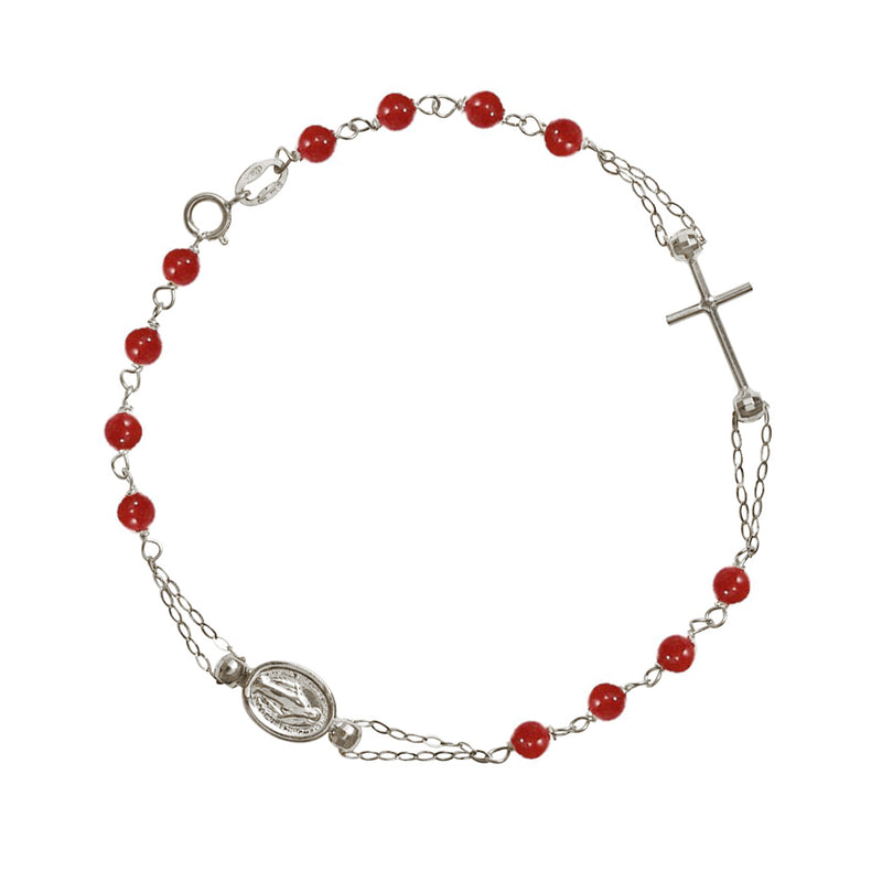 18 Kt White Gold bracelet with red Coral beads