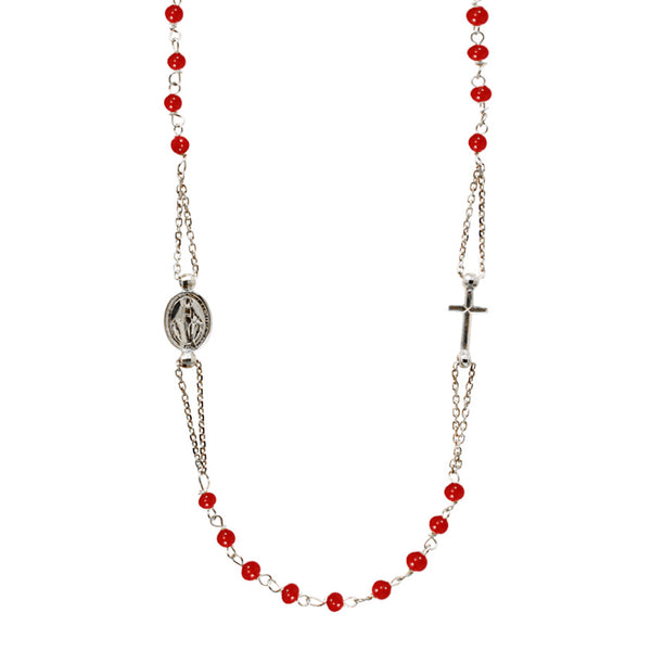 18 Kt White Gold necklace with red Coral beads