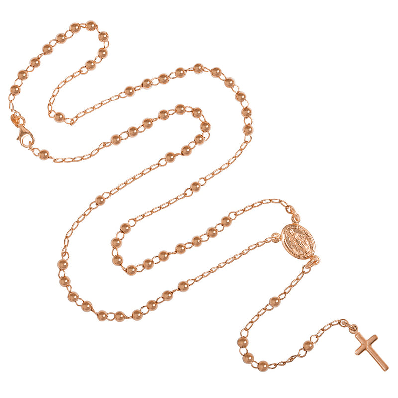 rose gold rosary necklace