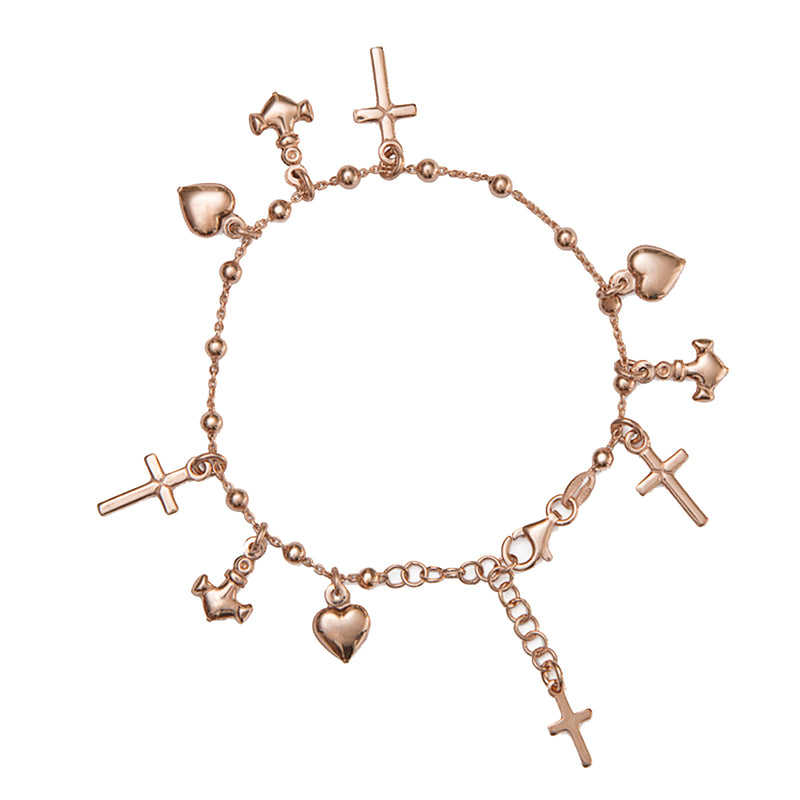 Faith hope and charity rose silver bracelet