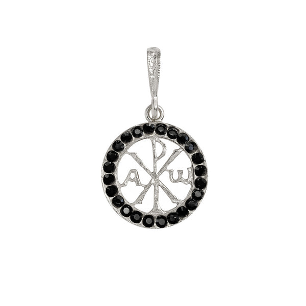 Peace pendant with black Swarovski Crystals