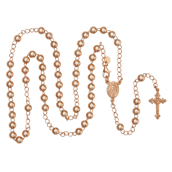 rose silver rosary necklace