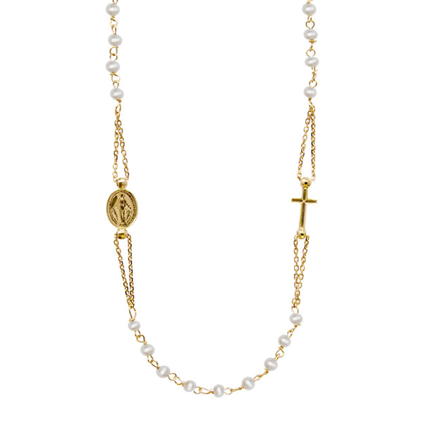 Miraculous and cross pearl necklace